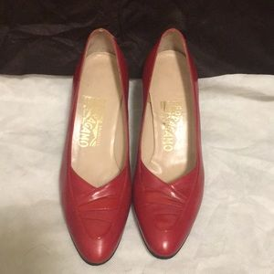 Salvatore Ferragamo red two inches heel size 7.5 m